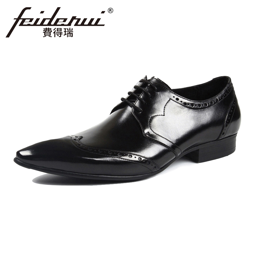 New British Style Genuine Leather Men's Carved Oxfords Pointed Toe Lace up Derby Male Formal Dress Brogue Shoes For Man YMX315 pjcmg fashion black red lace up pointed toe genuine leather business carved formal casual dress oxfords shoes for man