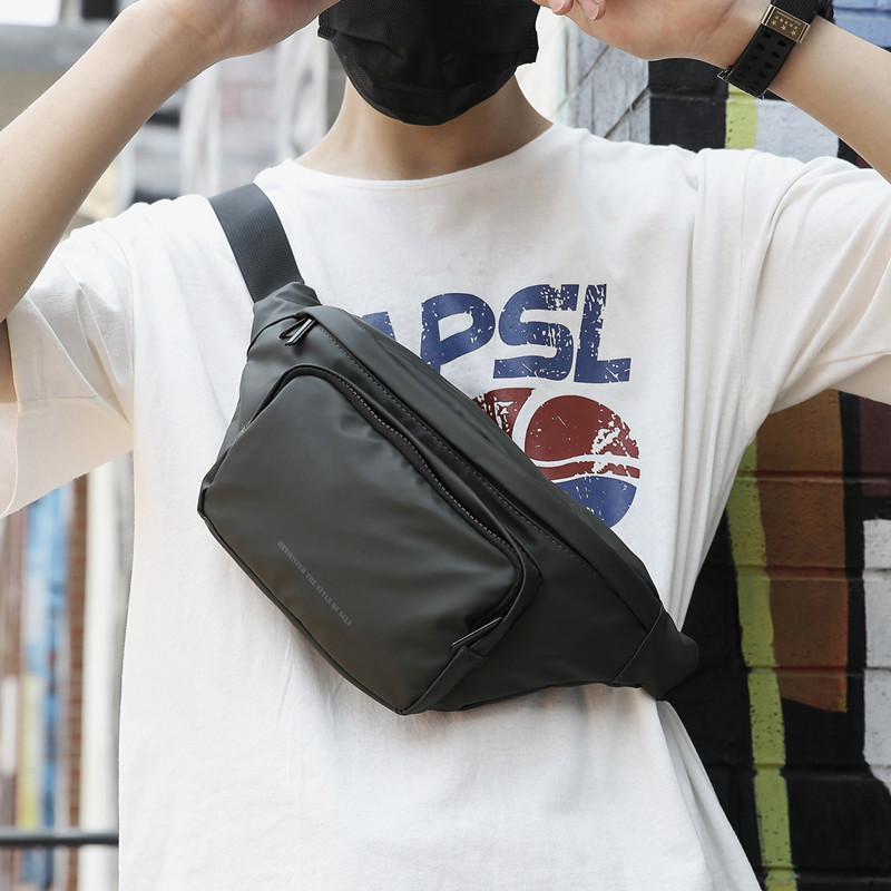 Fashion Fanny Pack Black Waterproof Money Belt Bag Men Purse Teenager's Travel Wallet Belt Male Waist Bags Crossbody Chest Bag