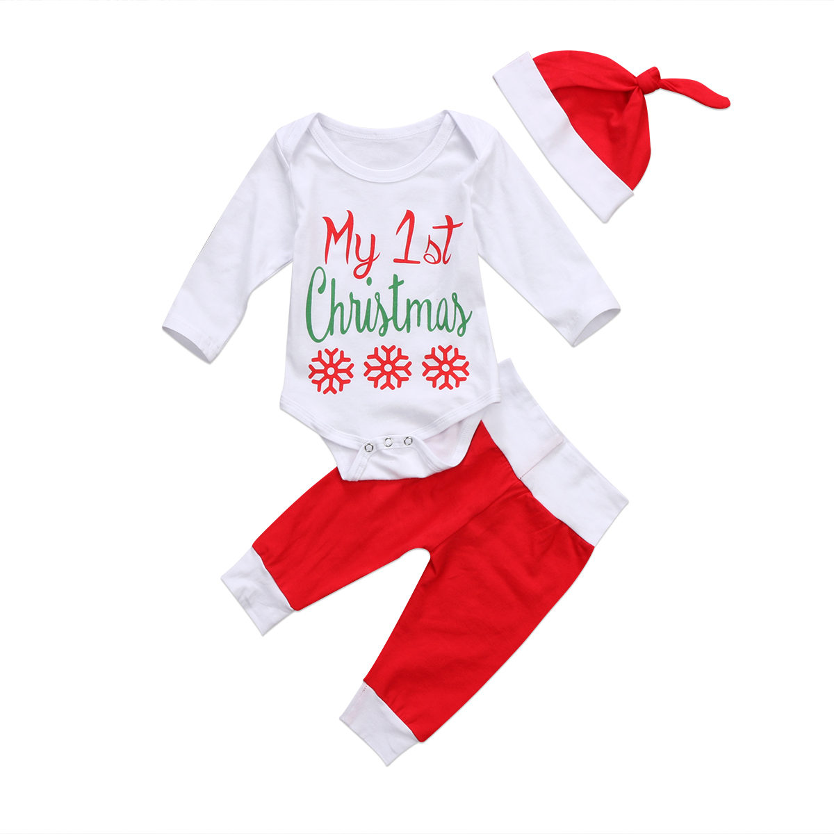 My 1st Christmas Newborn Baby Boy Girl Xmas Clothes Tops Romper Pants Outfit Set xmas santa claus 1st brown top baby girl pettiskirt outfit 1 8y mapsa0036
