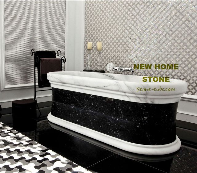 Stone Freestanding Tub White Carrara & Black Marble Hand Carved ...