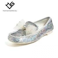 IGU/Женская обувь на плоской платформе, модная обувь с бантом и блестками, 2019 Брендовая женская обувь, обувь для женщин на толстой мягкой подо