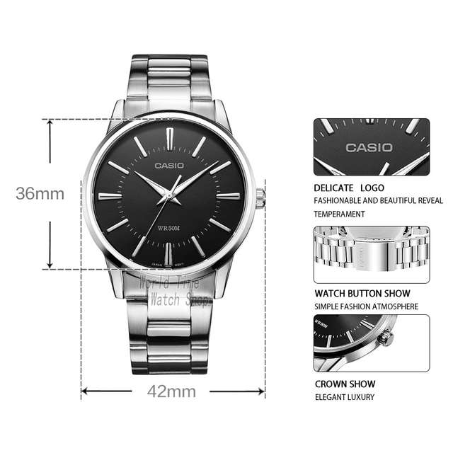 150ca099499 placeholder Casio relógio Analógico de Quartzo dos homens Assistir Cinta de Aço  Simples Relógio de Ponteiro MTP