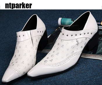 man ntparker New Handmade High Qulaity Man Leather Shoes Square Heels White Wedding Shoes  for Man Casual Leather shoes Man