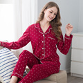 Red Couples Pajamas long - sleeved cardigan cotton men and women at home