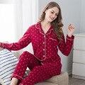 Vermelho Casais Pijamas longo-sleeved cardigan de algodão homens e mulheres em casa