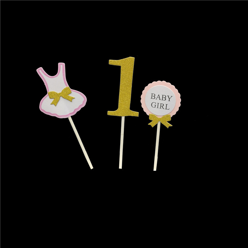 11adb6c43e Chicinlife 3Pcs 1St First Happy Birthday Onesie Cake Cupcake Toppers Baby  Boy Girl Party baby shower Decorations supplies-in Cake Decorating Supplies  from ...
