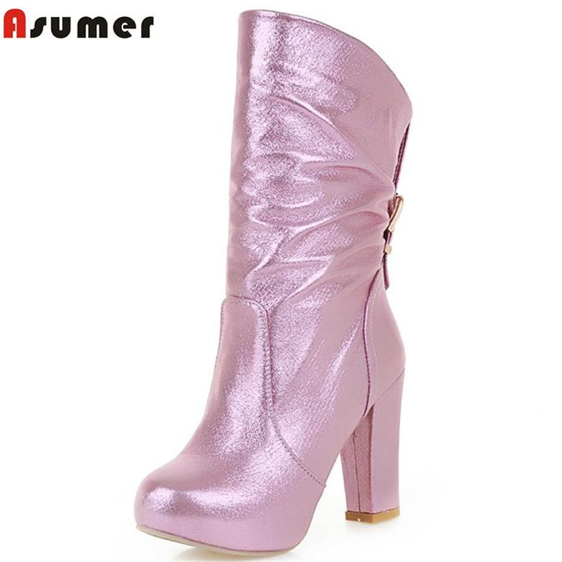 ASUMER Elegant fashion women ankle boots new arrival in winter slip-on buckle high square heels soft pu leather high quality