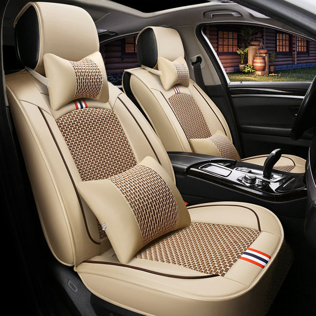 front+rear) leather Ice silk car seat covers auto cushion for nissan ...