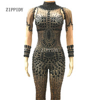 Fashion Black Big Rhinestones Bodysuit Celebrate Glisten Crystals Costume Stage Performance Outfit Big Stretch Bodysuit Rompers