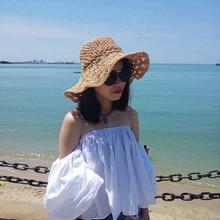 Mingjiebihuo nueva moda coreana plegable playa sombrero de paja del verano  femenino salvaje fresca pequeña playa vacaciones de v. f92be11f120