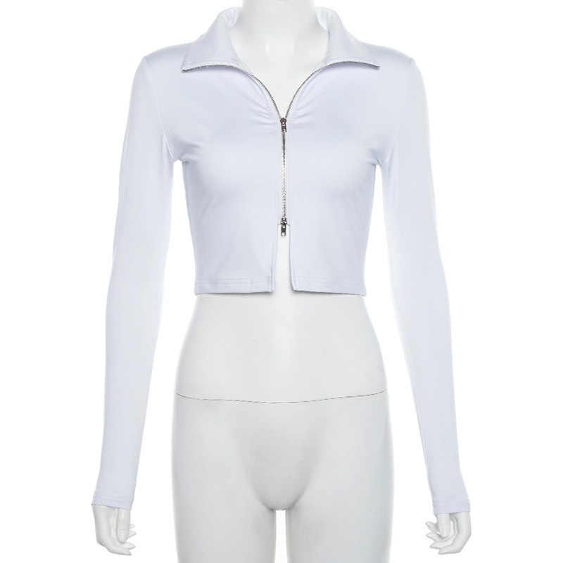 הצפנה ארוך שרוול רוכסן תורו למטה צווארון פאנק חולצות סקסי נשים למעלה Tees Slim סתיו אופנה Streetwear יבול צמרות