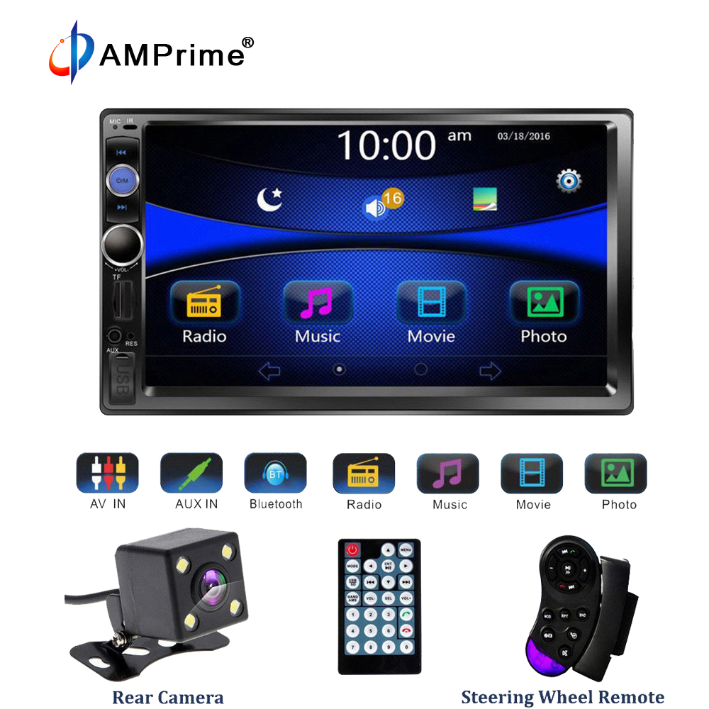 AMPrime 7023B Universal 2 din Car Multimedia Player Audio Stereo Radio 7 Touch Screen Video MP5 Player Rear View Backup Camera