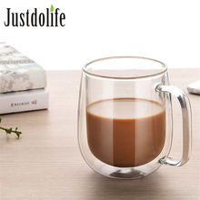 350ml Coffee Cup Milk Mug High Quality Double Wall Transparent Round Insulated Glass Mug Coffee Tea Cup Drinkware Creative Gift все цены