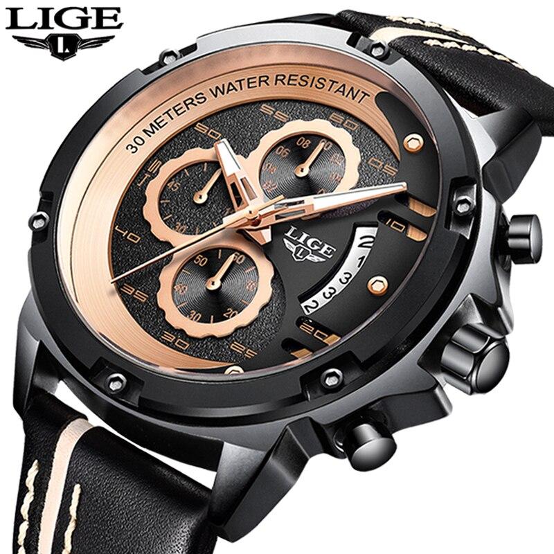 2019 montres homme LIGE de Top Marque De Luxe Hommes Militaire montre de sport Hommes décontracté En Cuir Étanche montres à quartz Relogio Masculino