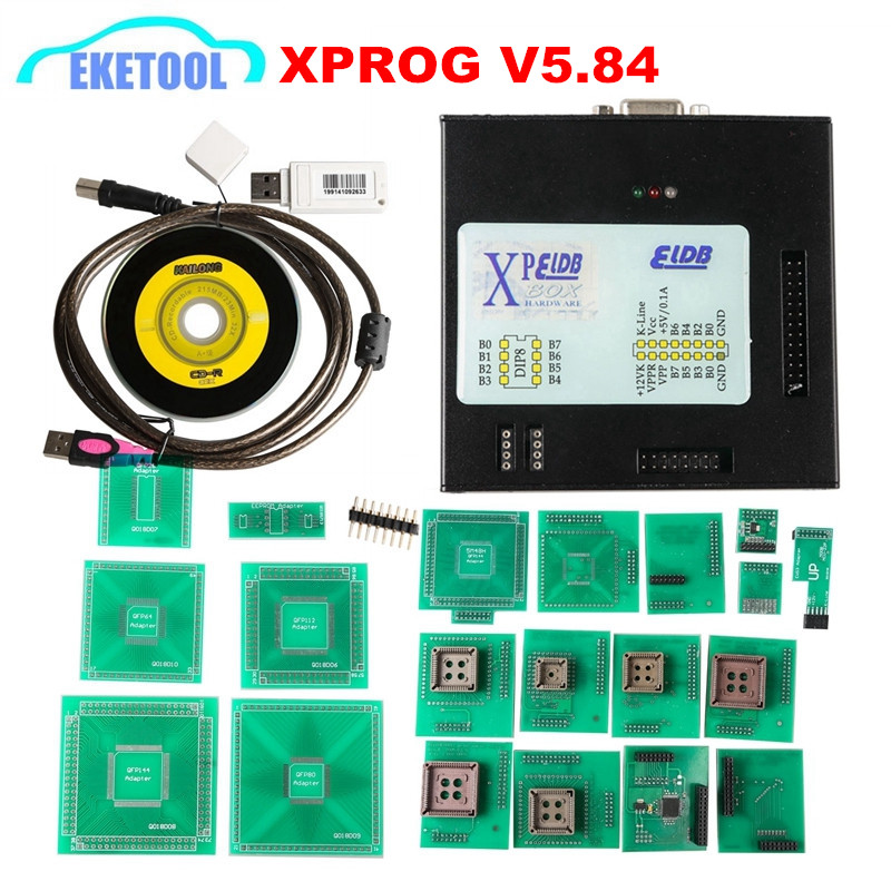 DHL Бесплатная последние V5.84 XPROG коробка ЭКЮ программист добавить более уполномоченный с USB Dongle XPROG-M V5.84 прошивки V4.4 X-PROG инструмент