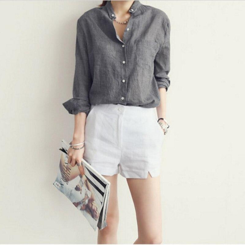 Top Ropa Tops Blusa Mujeres Azul Blanca gris Nuevas De Delgadas Larga Mujer Verano Manga Camisa Oficina blanco Señora Hwq6x1P