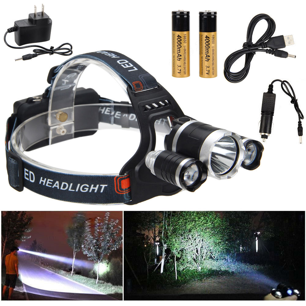 VastFire 8000 Lumen Headlamp XM-L 3 x T6 +2r5 LED Headlight 18650 Head Torches Light Charger Battery