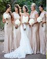 New Arrival Elegant Vestido De Fashion Mermaid Women's Long Gold Sequined Bridesmaid Dress 2015 Short Sleeve Wedding Party Dress