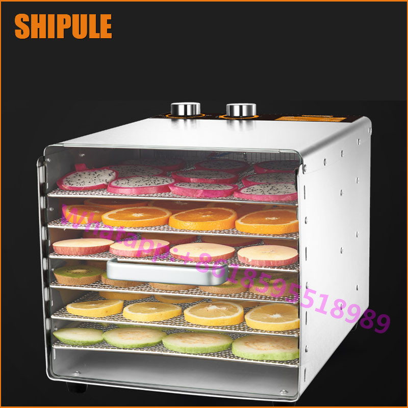 SHIPULE 220V Stainless Steel 6 Layers Electric Fruit Meat Vegetable Herb Dryer Food Dehydrator Machine Price fast food leisure fast food equipment stainless steel gas fryer 3l spanish churro maker machine