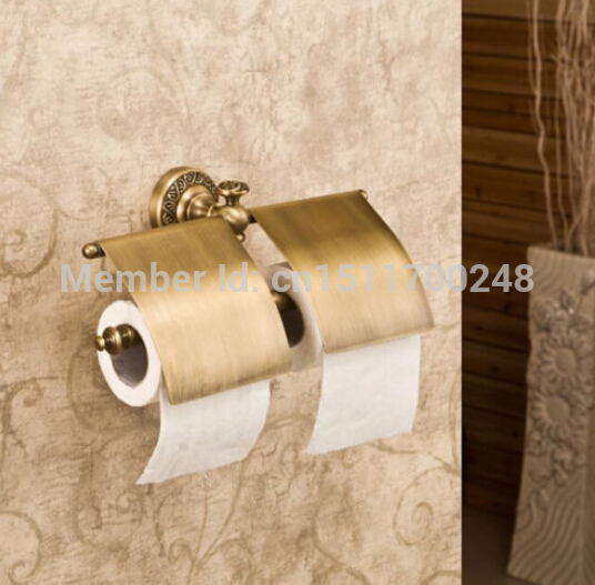New Wall Mounted Bathroom Golden Brass Toilet Paper Holder