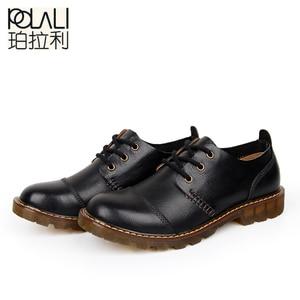 Image 2 - Polali男性の革靴カジュアル新2020本革シューズメンズオックスフォードファッションレースアップドレスシューズ屋外作業靴sapatos