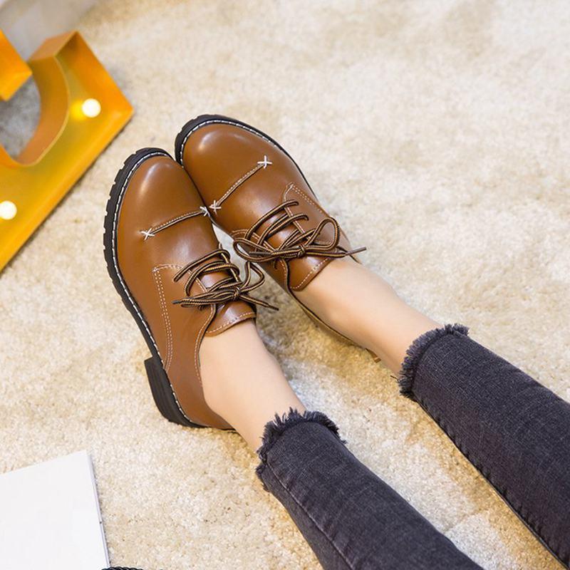 Chaussures 2018 Nouveau marron Simple Mode Solide Rétro De Couleur Chaussures Noir Ronde r7rIq
