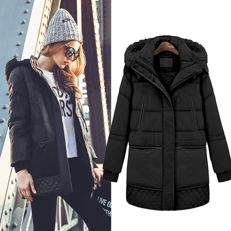 New Womens Winter Jackets Detachable Hooded Overcoat Thick Padded Coat Female Long Warm Coat Jackets Solid Women's Parkas C1706 2017 new long hooded winter wadded parkas slim warm padded female jackets thick overcoat outwear winter cotton coats fp0025