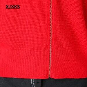 Image 5 - XJXKS Herbst Und Winter Frauen Pullover Mantel Gestrickte Frauen Strickjacken Solide Jacke Zipper Langarm Elegante Pullover Mäntel