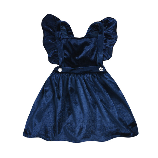 ARLONEET Gold velvet girl's strap dress Toddler Baby Kids Girls Velour Sleeveless Strap Suspender Overalls Clothes W1129