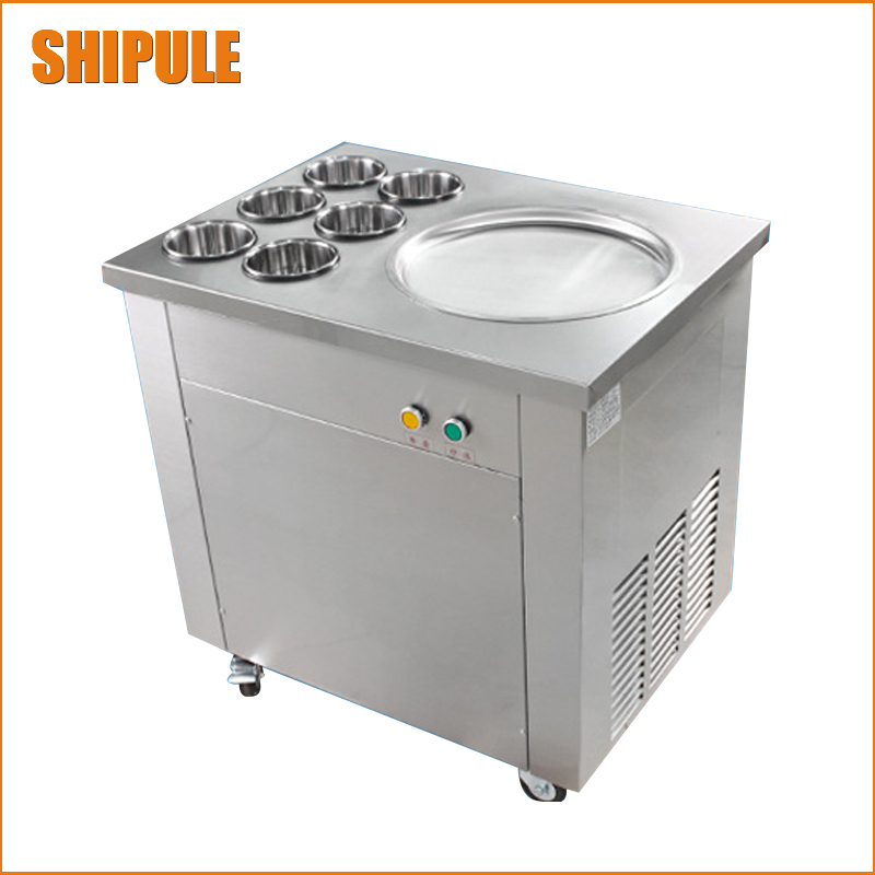 Free shipping 35cm big pan rolled fried ice cream machine single round pan thailand ice roll machine ice cream maker chinese single round pan rolled ice cream machine fried ice cream roll machine with 6 barrels