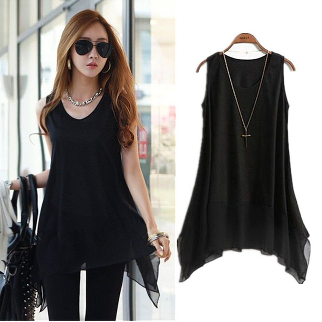 Plus Size Women Vest Modal Chiffon Tank Top Big Size Womens clothes Female 2016 summer basic Tops XXXL xxl shirt irregular edge