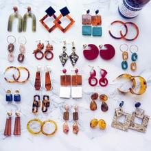 2019 Cool Style Brown Coffee Geometric Acrylic Drop Earrings for Women Fashion Accessories  Girl