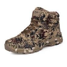 Зимние прочные Мужские Ботинки теплая камуфляжная Хлопок армии обувь Спорт на открытом воздухе тренер обувь мужские Армейские сапоги размеры 36–46