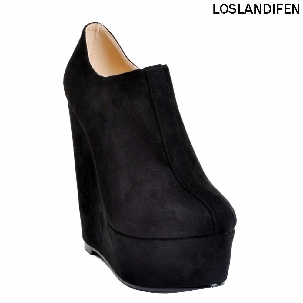 Wedge Heel Ankle Boot Platform Zipper