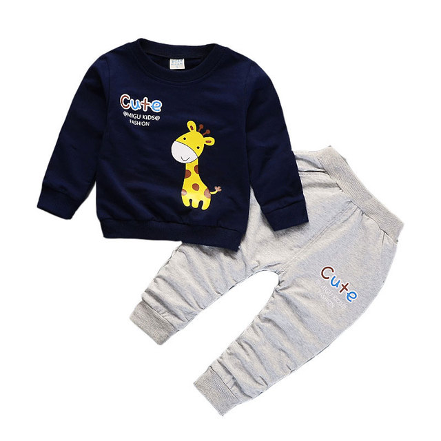 18M-5T Baby boys Clothes giraffe print tops letter pants Girls Clothing Set Children Clothing Two Piece Kids Clothes Outfits