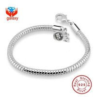 GALAXY 100 925 Sterling Silver Bracelets Bangles For Women Fashion Silver Jewelry With S925 Stamp 3mm