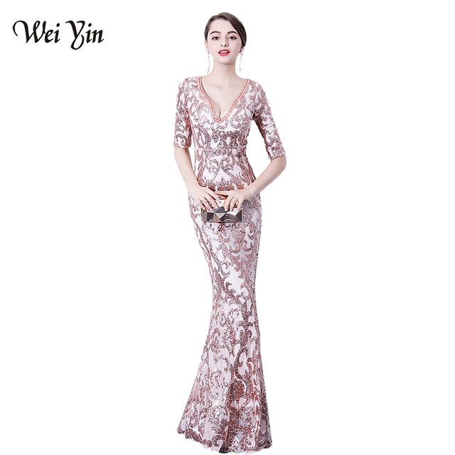 WEIYIN Robe De Soiree V-neck Backless Sequined Party Formal Dress Half  Sleeve Beaded Sexy Long Evening Dresses Vestido de Festa 337ddb84894a