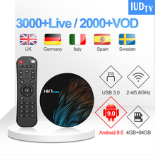 IPTV Sweden Spain Italy UK Germany Android 9.0 HK1 MAX 4G+64G BT Dual-Band WIFI IUDTV 1 Year Box