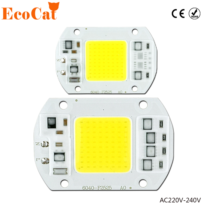 COB LED Chip 50W 220V 30W 20W 10W 3W Smart IC No necesita controlador Lámpara de bombilla LED para proyector de reflector DIY