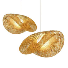 Bamboo Wicker Rattan Shade Fixture Asian Hanging Ceiling Lamp New Lighting for Living Room Dining Room Garden B075