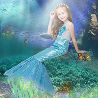 Evening fishtail sequined dress princess toddler costume stage performance clothes kid mermaid wedding dress withpearls bluegold