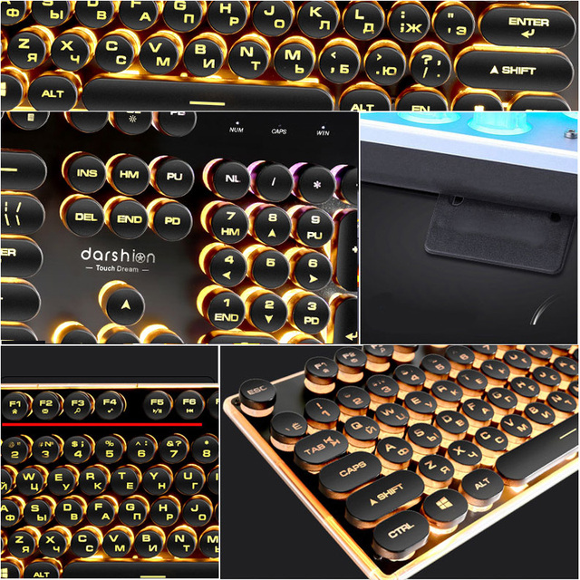 Steampunk Retro Gaming Keyboard Russian/English Layout Round Keycap Backlit USB Wired Glowing Metal Panel Crystal Border 6