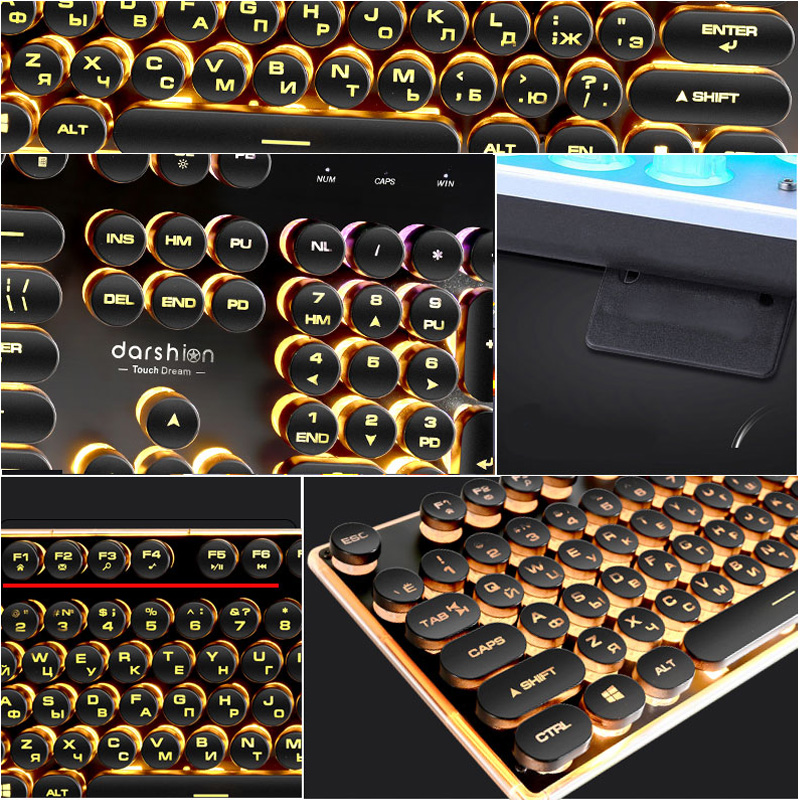 Steampunk Retro Gaming Keyboard Russian English Layout Round Keycap Backlit USB Wired Glowing Metal Panel Crystal