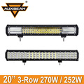 Auxbeam Cree Chip 20inch 3-Row 270W/250W SUV Car LED Light Bar Combo Led Driving Work Light for Jeep Truck Pickup UTV RZR ATV RV