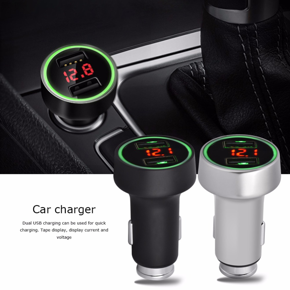 C7 Dual USB 3.6A Car Charger Adapter Quick Charge with LED Display for Mobile Phone