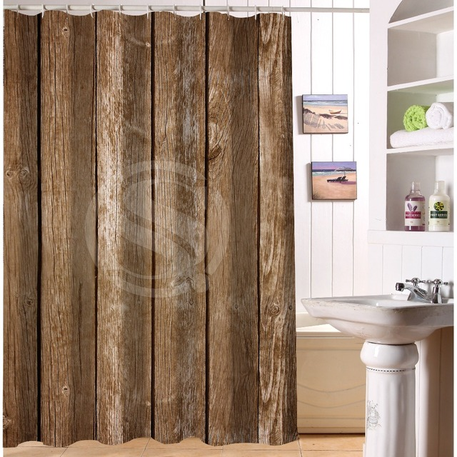 New Bathroom Fashion Vintage Rustic Old Barn Wood Shower Curtains Waterproof And Mildew Proof With