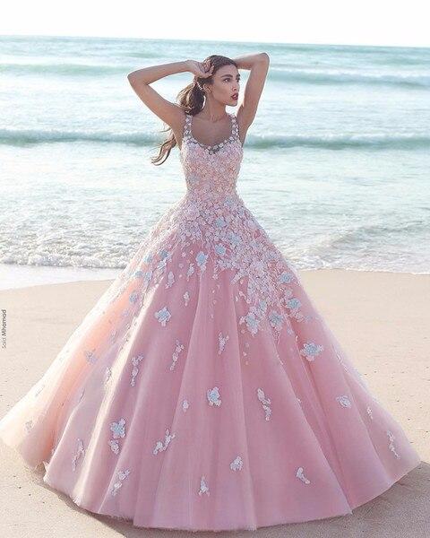 Ball Gown Pink Quinceanera Dresses 2019 Vestidos De 15 Anos Sheer Straps Saudi Arabic Beach Prom Gowns Sweet 16 Dress debutante