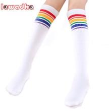 Boys Socks Rainbow Girls Cotton Children's Kid Lawadka Knee Sport Leg-Warmers Students-Style