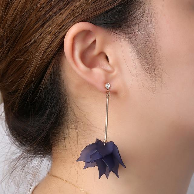 Women Colorful Elegant Crystal Flower Earrings 1