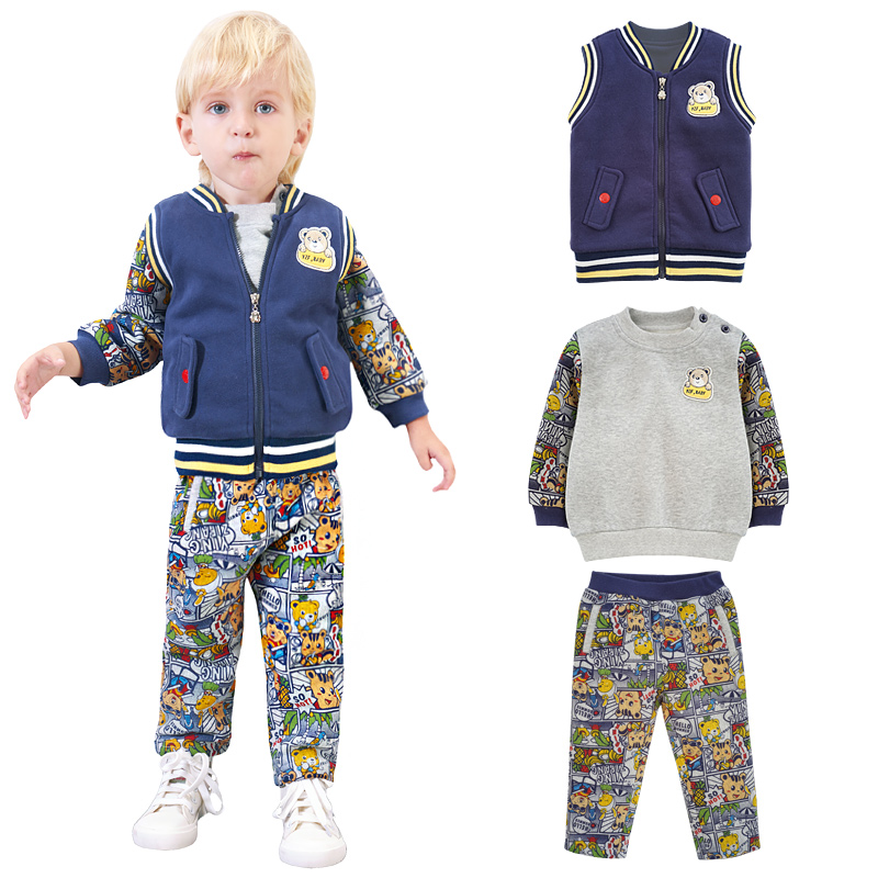 Toddler Hot Sale Real Full Little Boys Fashion Cute Cotton Cartoon Warm 3 Pieces Clothing Sets Sports Suit Tees + Pants Vest